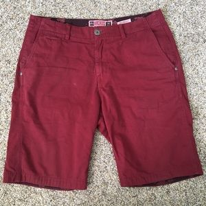 Micros Maroon Tailored Fit Shorts 34